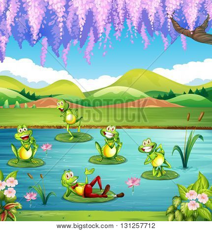 Frogs living in the pond illustration