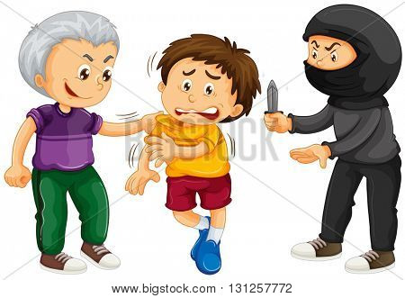 Thief threatening boy for money illustration