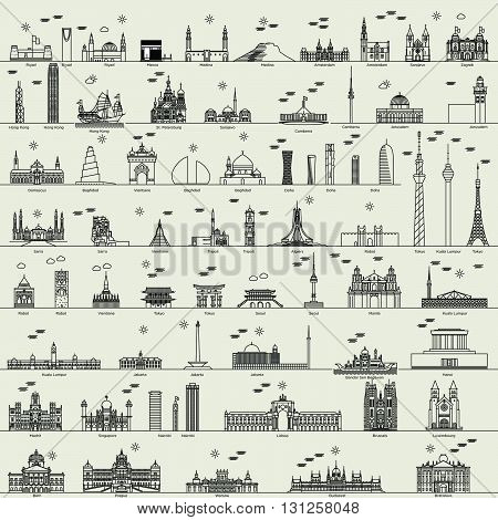 vector line world capital city collection set
