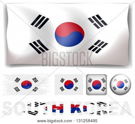 South Korea flag in different designs illustration