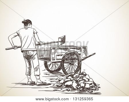 Sketch of woman working with shovel carries stones into wheelbarrow, Hand drawn illustration