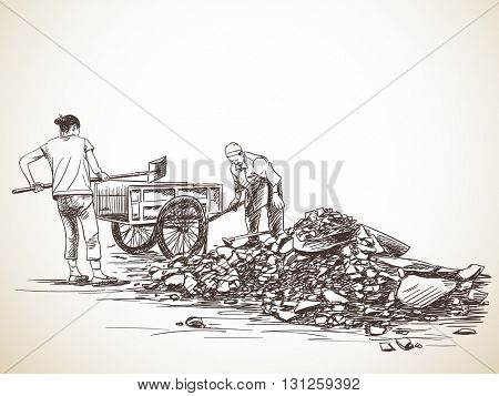 Sketch of women working with shovel carries stones into wheelbarrow, Hand drawn illustration