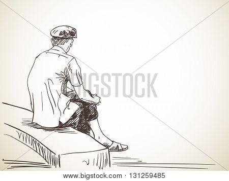 Sketch of old man sitting on bench, Hand drawn illustration