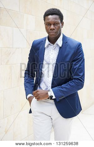young man of african descent wearing smart casual men's fashion