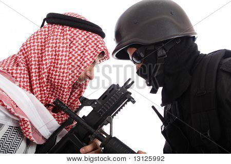 Confrontation betwen armed muslim man and soldier