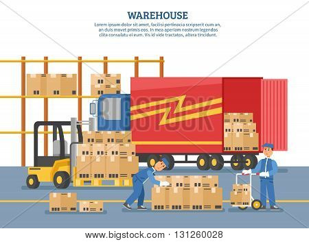 Logistics delivery poster with people who unload truck in warehouse and headline warehouse on top vector illustration