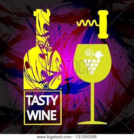 White wine and tasting card yellow bottle with glass and corkscrew over dark water color background. Digital vector image.
