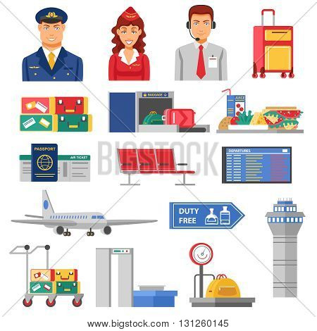 Airport icon set flight attendants and pilots figures elements and airport buildings airplanes and baggage carts vector illustration