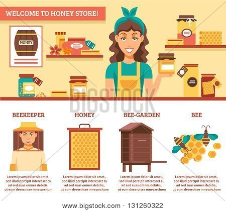 Beekeeping honey infographics with descriptions of welcome to honey store and listing the main components for honey production vector illustration