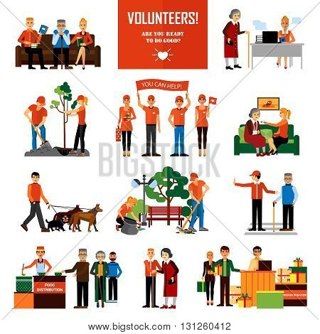 Volunteers decorative icons set with young people helping elderly and animals planting and cleaning city flat vector illustration