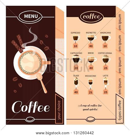 Coffee menu design for coffeehouse restaurant cafe or bar with names of coffee types plate and cigars flat vector illustration