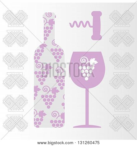 Red wine and tasting card bottle with glass and corkscrew over white background. Digital vector image.