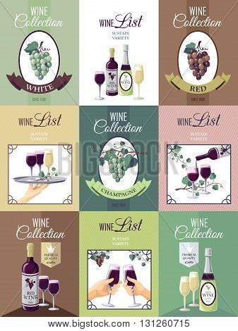 Set of nine wine posters for restaurant or bar menu with presentation of wine collection bunches of grapes vine glasses and bottles  vector illustration