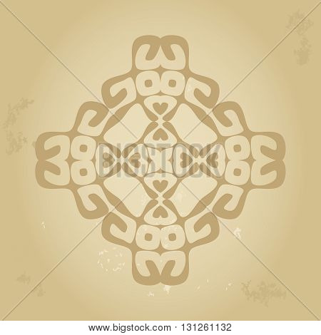 Abstract ethnic sign in sepia brown colors isolated on grunge old background. Vector illustration. File editable, scalable and easy color change.