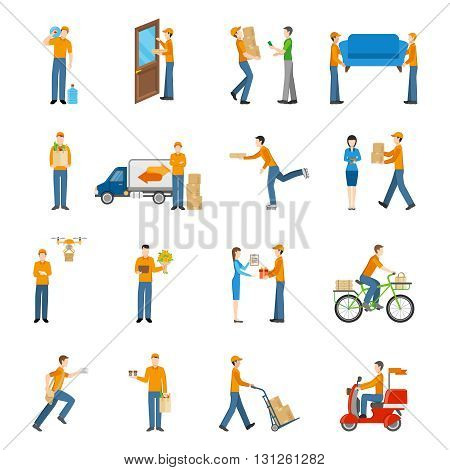 Delivery courier people delivering goods by different types of transport icons set on white background flat isolated vector illustration