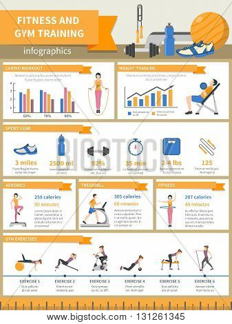Fitness and gym training infographics presenting sport gear and describing exercises with pictures diagrams time and burnt calories flat vector illustration