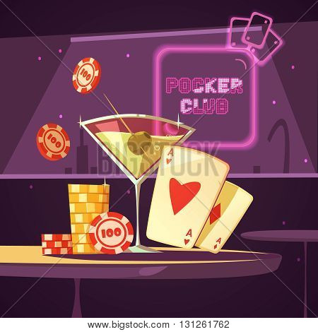 Sparkling casino poker club with cards cocktail and chips on table in bar retro cartoon flat vector illustration