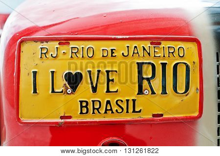 Car License Plates With Sign I Love Rio Brasil