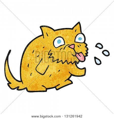 freehand textured cartoon cat blowing raspberry