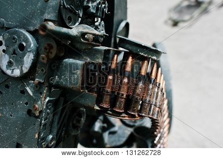Cartridge Belt Of Ammo At Machine Gun.