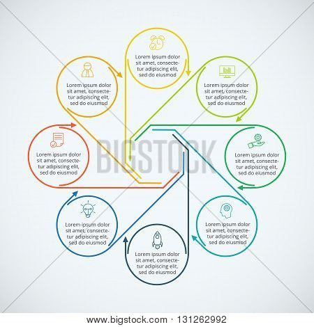 Thin line flat elements for infographic. Template for diagram, graph, presentation and chart. Business concept with 8 options, parts, steps or processes. Data visualization.
