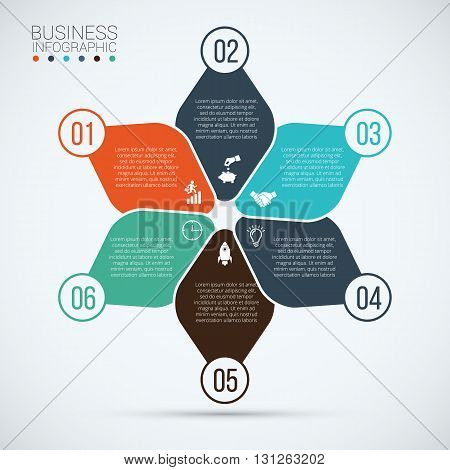 Vector element for infographic. Template for cycle diagram, graph, presentation and round chart. Business concept 6 with options, parts, steps or processes. Abstract background.