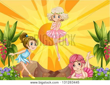 Three fairies flying in the garden illustration
