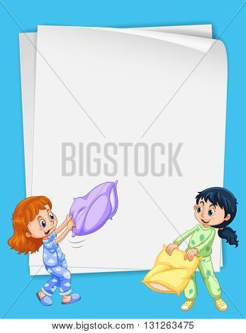 Paper design with two girls in pajamas illustration