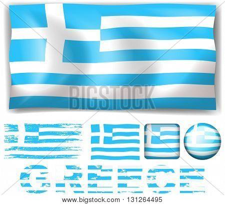 Greece flag in different design illustration