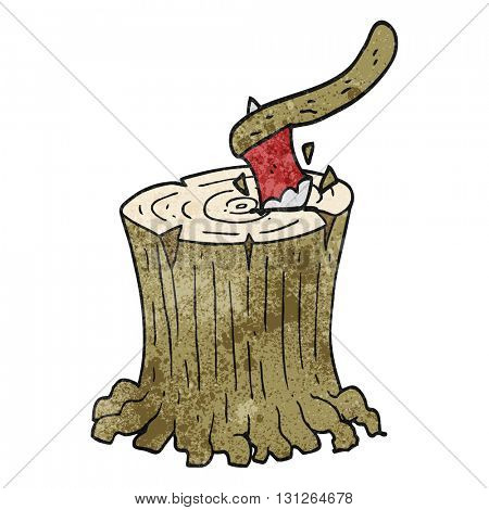 freehand textured cartoon axe in tree stump