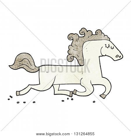 freehand textured cartoon running horse