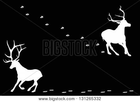 illustration with deer with tracks silhouettes isolated on black background