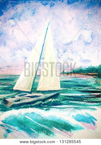 hand painted watercolor illustration with sea waves and sailboat