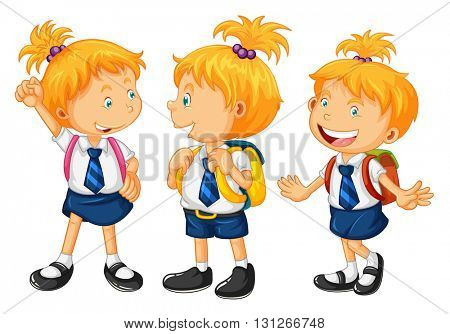 Kids in school uniform illustration