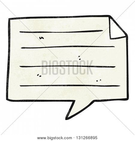 freehand textured cartoon notes speech bubble