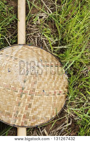 Bamboo farmer hat on grass in Thailand.