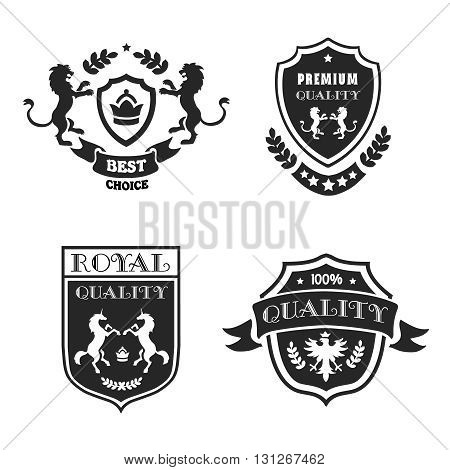 Heraldic elements black emblems set premium quality. Medieval shields with stars and laurel wreaths vector illustration