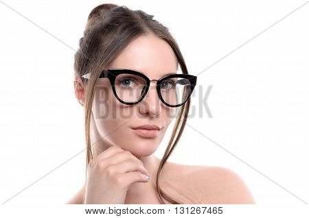 Woman In Glasses Looking In The Camera On White Background