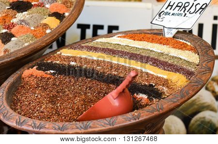 Spice Bazaar, turkish spices for sale in Turkey.