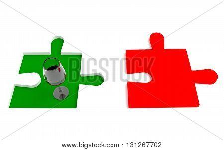 Italian wine, flag, puzzle piece, 3d illustration