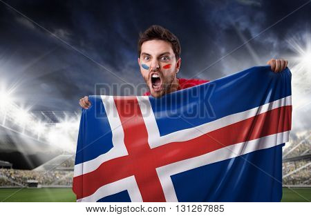 Fan holding the flag of Iceland