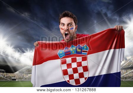Fan holding the flag of Croatia