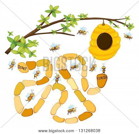 Game template with bees and beehive background illustration
