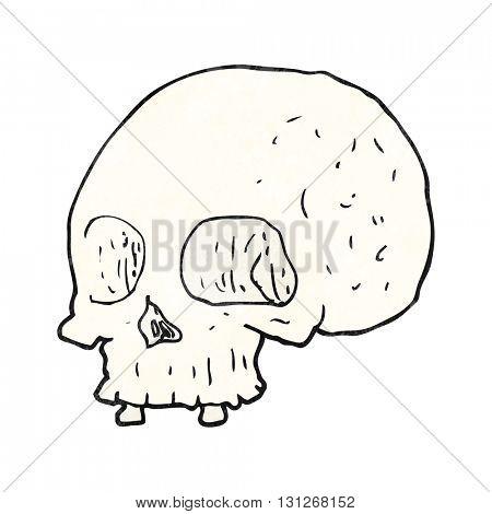 freehand textured cartoon old skull