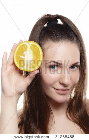 Woman With Orange On White Background