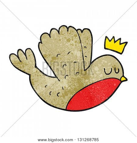 freehand textured cartoon flying christmas robin with crown