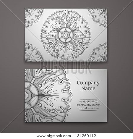 Silver business card with flower and Ornaments in Baroque Style.