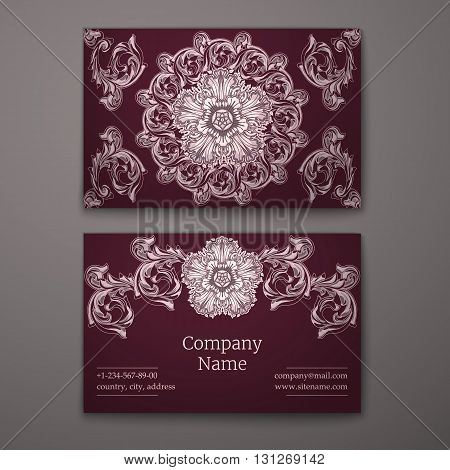 Ruby business card with flower and Ornaments in Baroque Style.