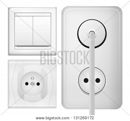 Realistic power socket, cable with plug and light switch. Vector illustration in 3d realistic style. Isolated object.