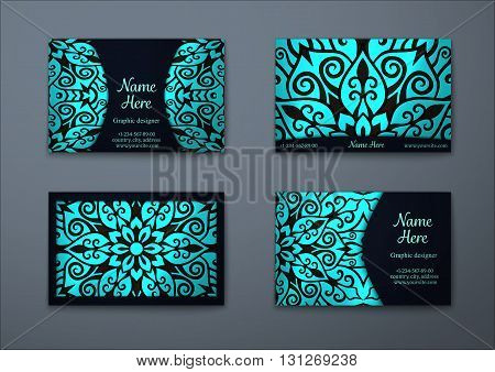 Vector vintage visiting card set. Floral mandala pattern and ornaments. Oriental design Layout. Islam Arabic Indian ottoman motifs. Front page and back page.